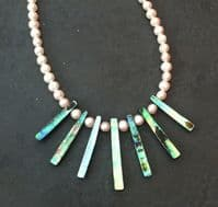 Necklace - Paua Fans & Freshwater Pearls - PN03-P White